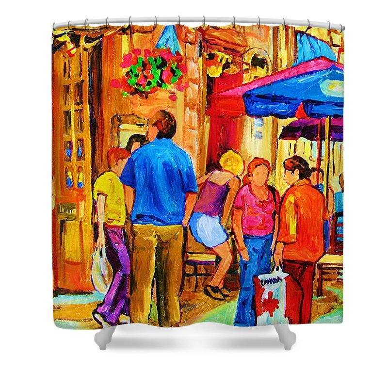 Montreal Cafe Scenes Shower Curtain featuring the painting Girl In The Cafe by Carole Spandau