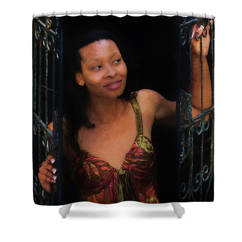 Girl Shower Curtain featuring the photograph Girl In The Pool 19 by Mike Penney