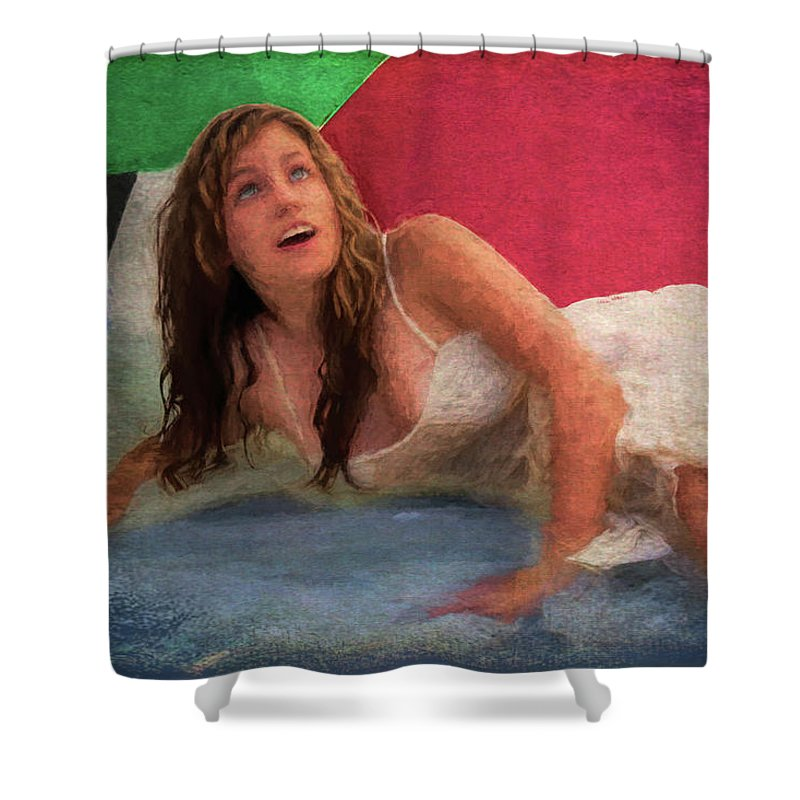 Girl Shower Curtain featuring the painting Girl In The Pool 3 by Mike Penney