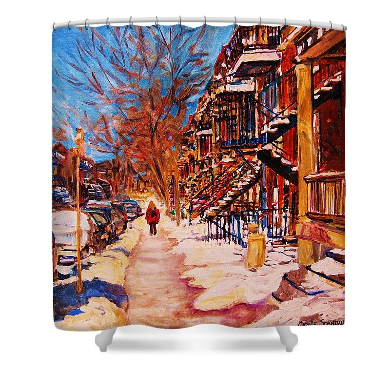 Children Shower Curtain featuring the painting Girl In The Red Jacket by Carole Spandau