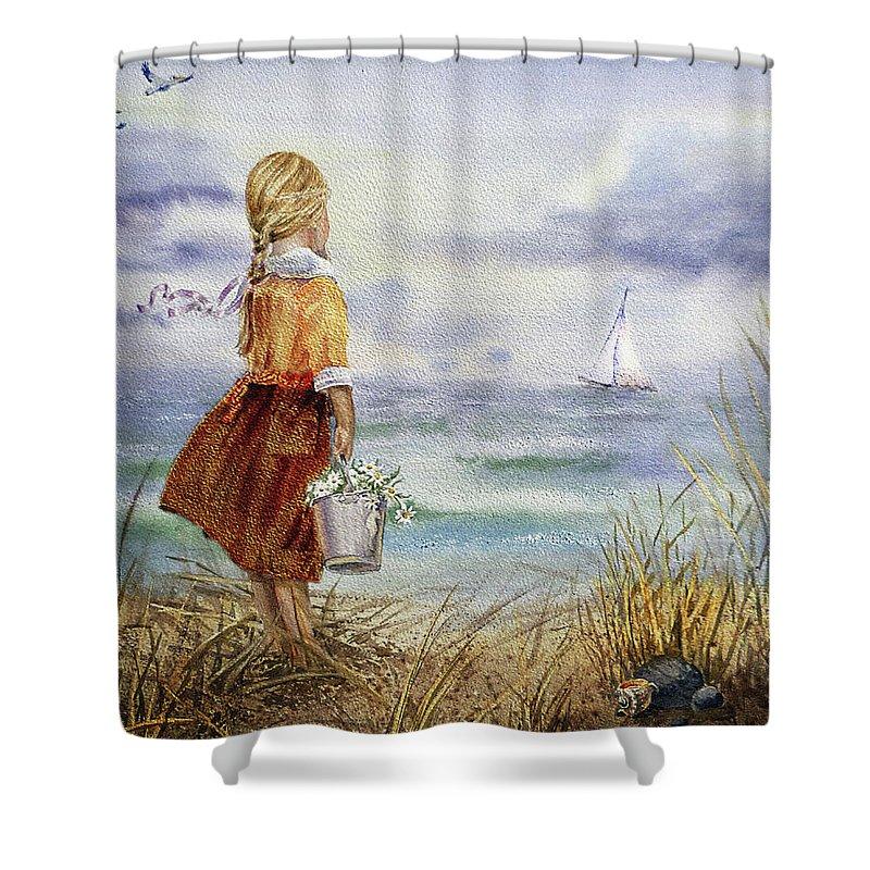 Girl Shower Curtain Featuring The Painting Ocean Shore Birds And Seashell By Irina Sztukowski
