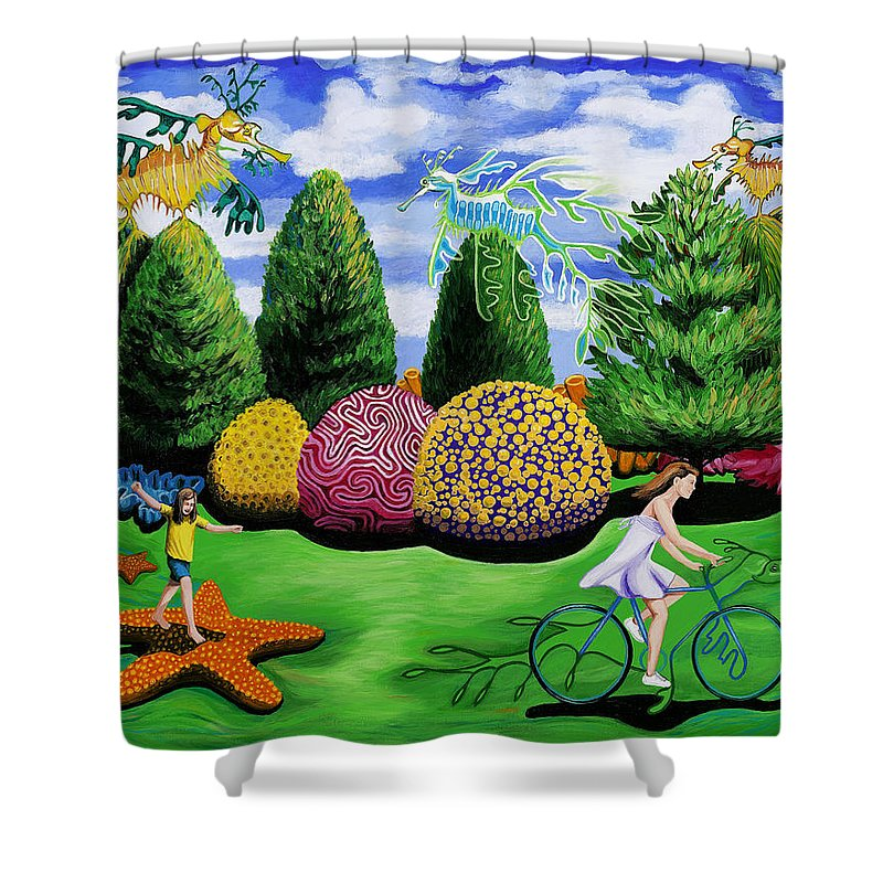 Shower Curtain featuring the painting Girl On A Bike by Myles Williams