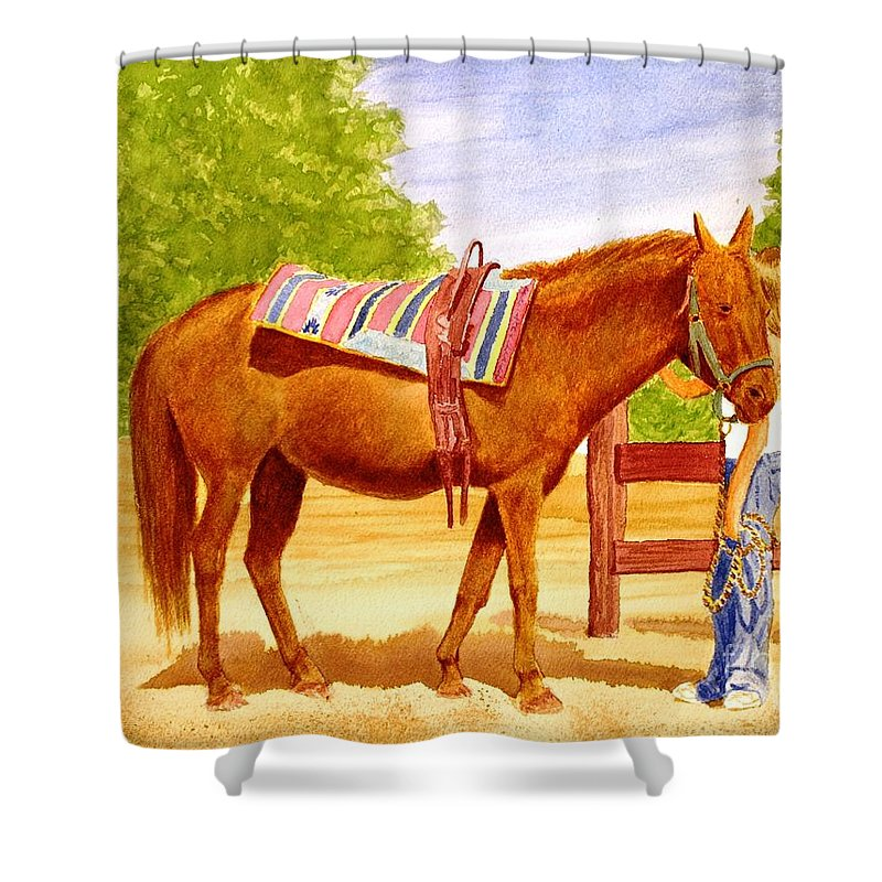 Equine Shower Curtain featuring the painting Girl Talk by Stacy C Bottoms