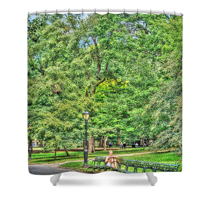 Central Park Shower Curtain featuring the photograph Girl Uninterrupted In Central Park by Randy Aveille