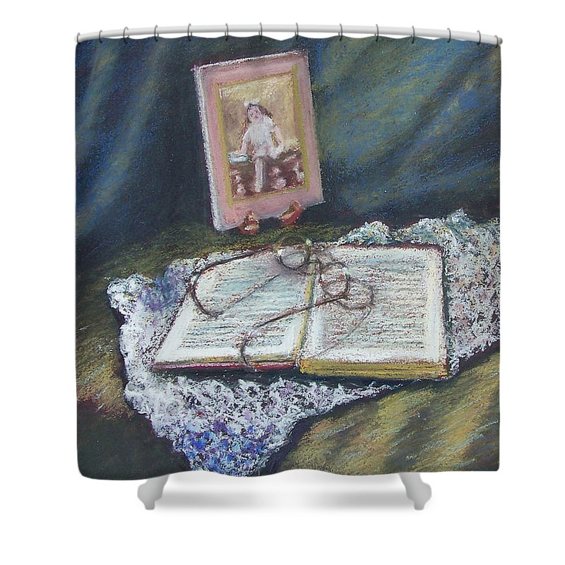 Still Life Shower Curtain featuring the painting Girl With A Book by Laurie Paci