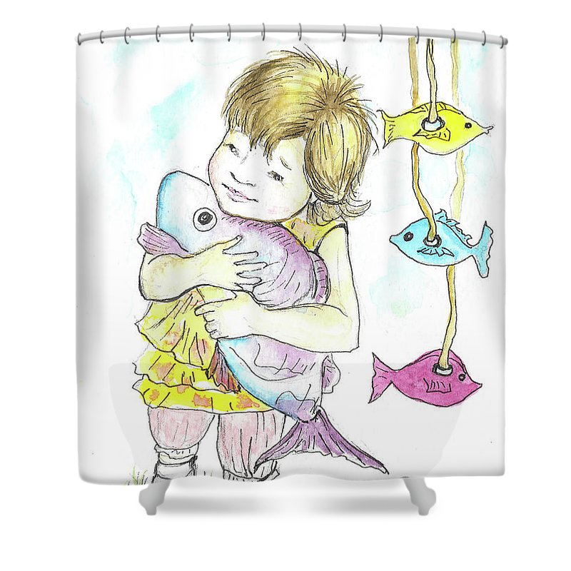 Girl Shower Curtain featuring the painting Girl With A Toy-fish by Yana Sadykova