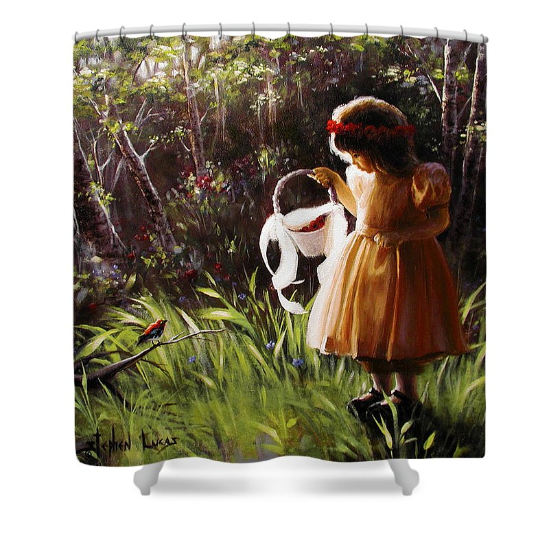 Shower Curtain featuring the painting Girl With Basket Of Roses by Stephen Lucas