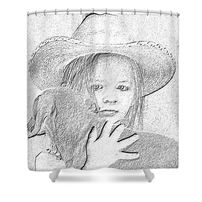 Young Shower Curtain featuring the digital art Girl With Dog by Amber Stubbs