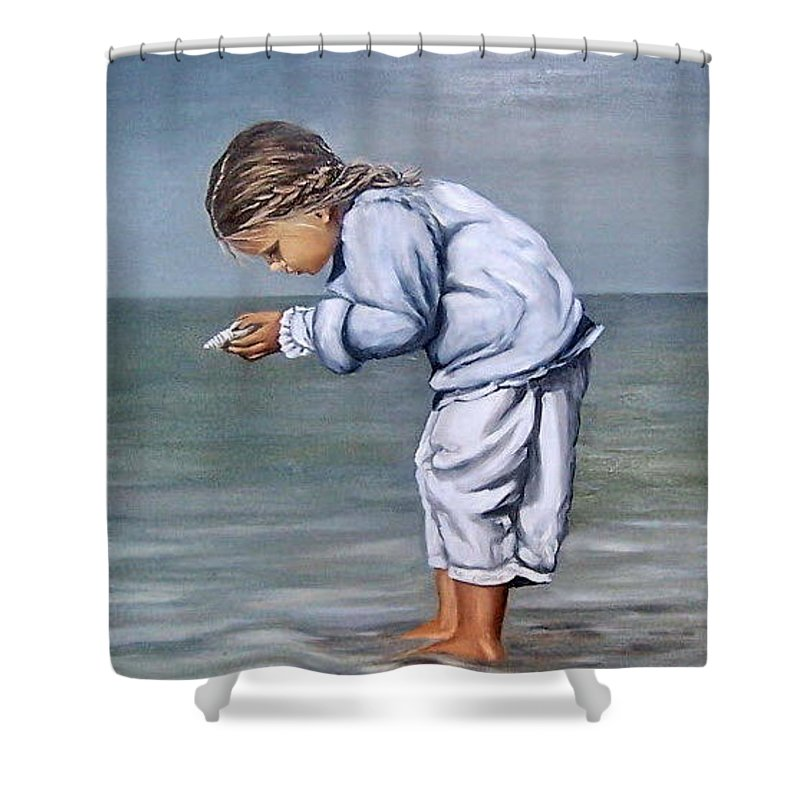 Kid Girl Seascape Sea Children Reflection Water Sea Shell Figurative Shower Curtain featuring the painting Girl With Shell by Natalia Tejera