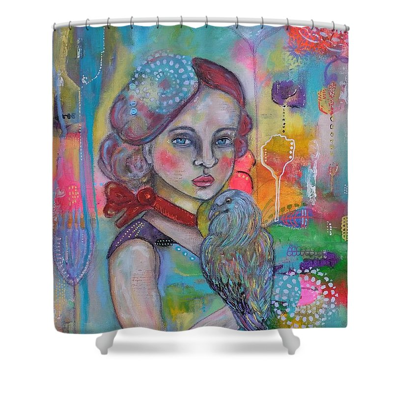 Girl With Nicobar Bird Shower Curtain featuring the painting Girl with Nicobar bird Original Canvas Painting by Cristina Parus