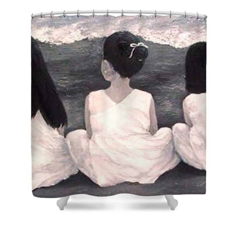 Girls Shower Curtain featuring the painting Girls In White At The Beach by Patricia Awapara