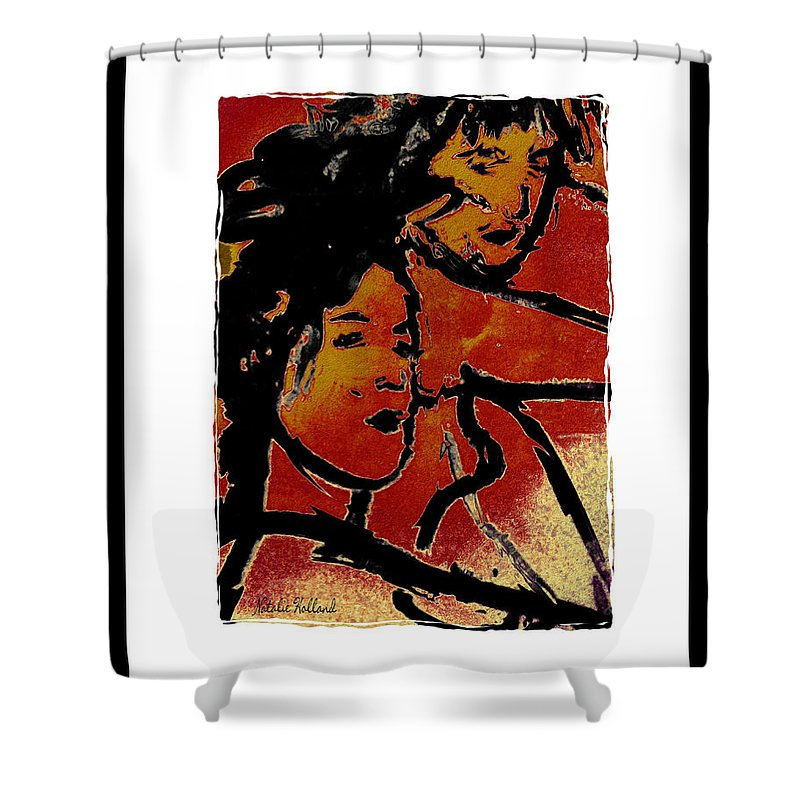 Women Shower Curtain featuring the mixed media Girls by Natalie Holland