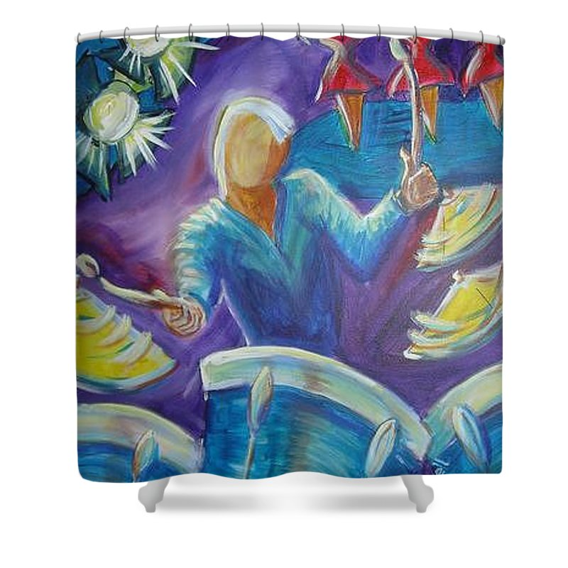 Jazz Shower Curtain featuring the painting Give Me A Beat by Regina Walsh