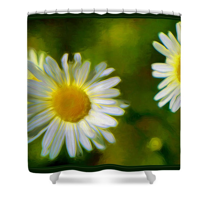 Daisies Shower Curtain featuring the mixed media Give Me Daisy In Color by Debra Lynch