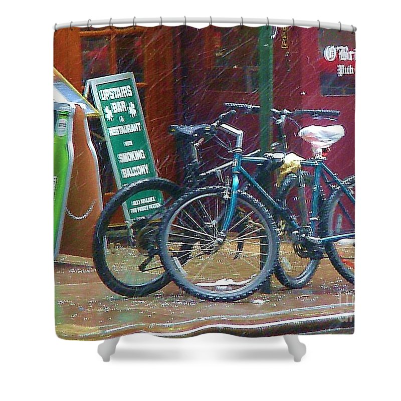 Bike Shower Curtain featuring the photograph Give Me Shelter by Debbi Granruth