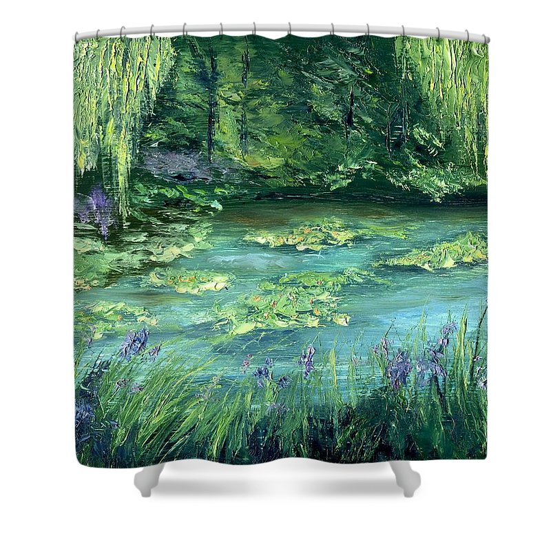 Giverny Shower Curtain featuring the painting Giverny by Gail Kirtz
