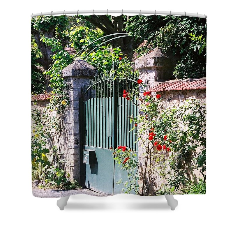 Giverny Shower Curtain featuring the photograph Giverny Gate by Nadine Rippelmeyer
