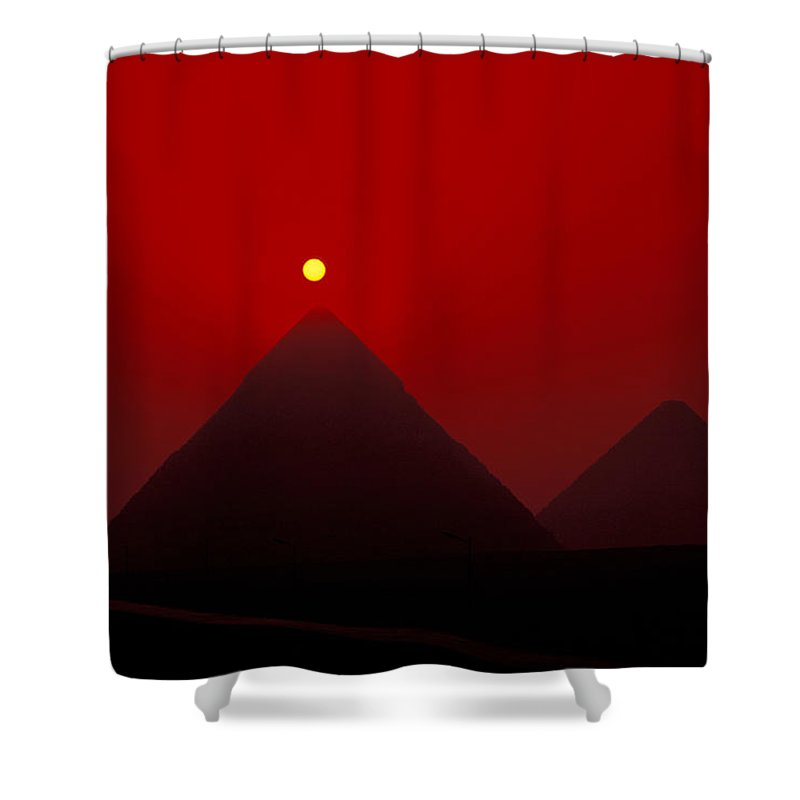 Pyramid Shower Curtain featuring the photograph Giza Pyrmaids At Sunset In Egypt by Richard Nowitz