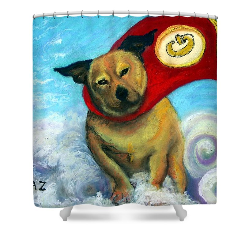 Dog Shower Curtain featuring the painting Gizmo The Great by Minaz Jantz