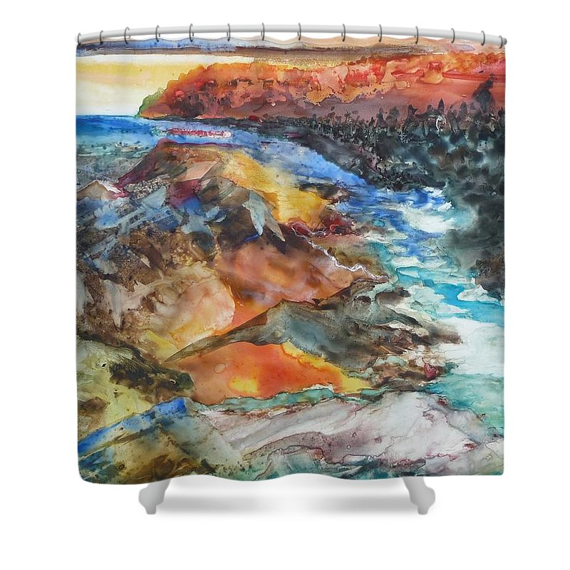 Abstract Shower Curtain featuring the painting Glacial Meltdown by Ruth Kamenev