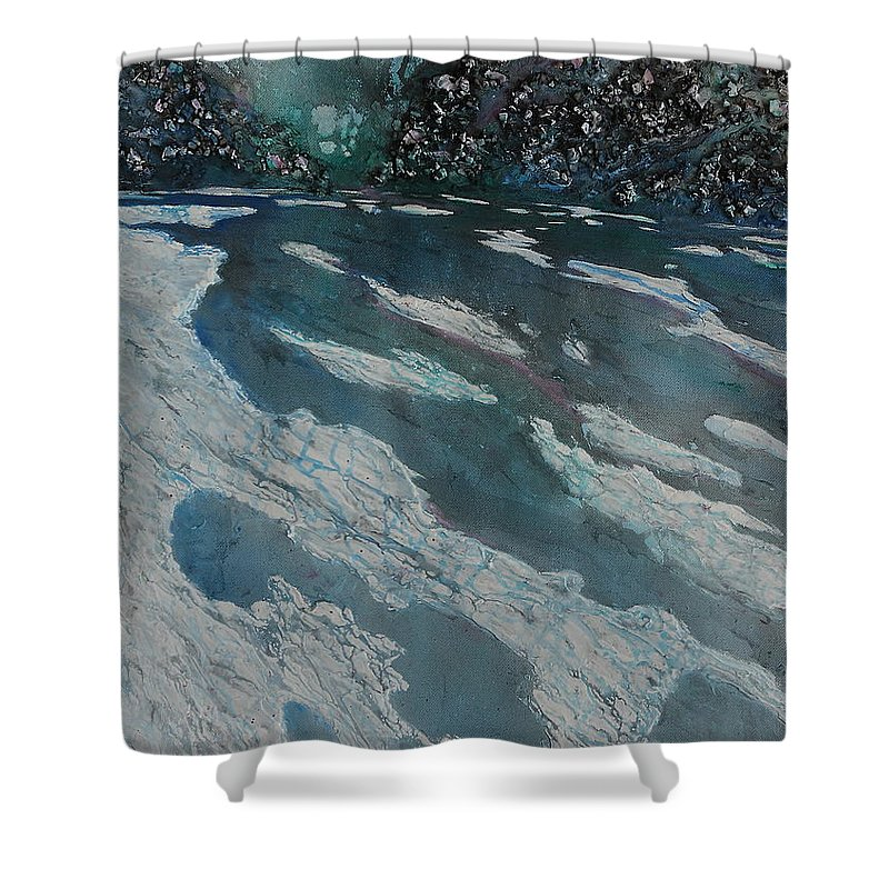 Ice Shower Curtain featuring the painting Glacial Moraine by Ruth Kamenev