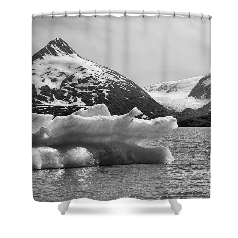 Alaska Shower Curtain featuring the photograph Glacier Bw Porter Alaska by Chuck Kuhn