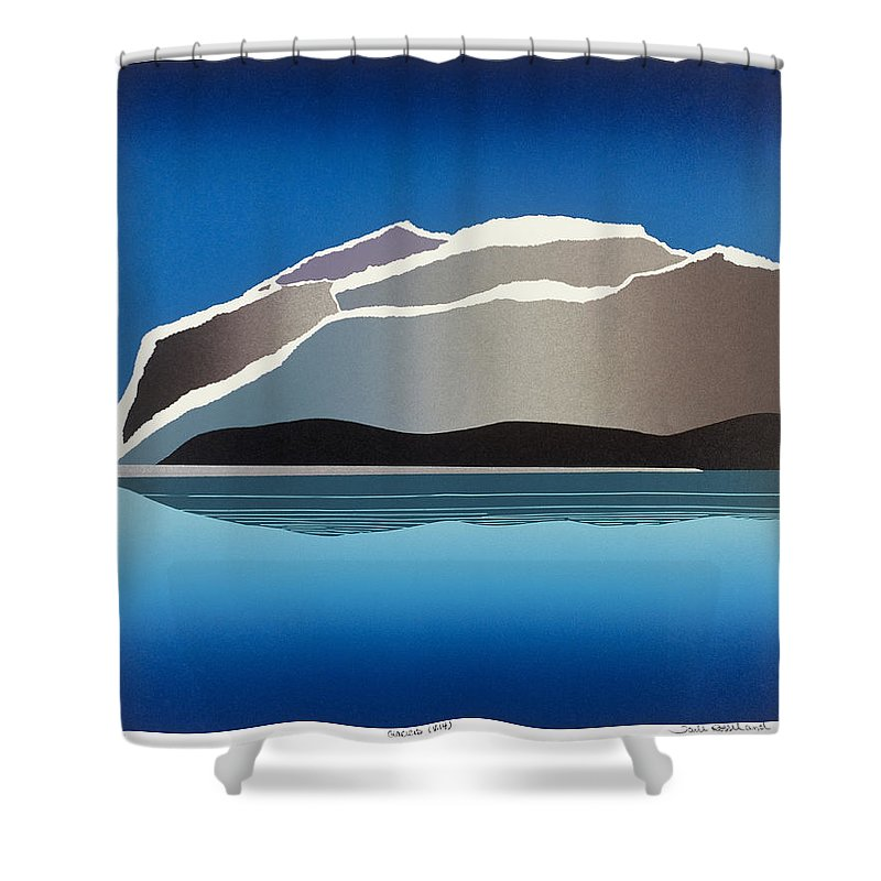 Landscape Shower Curtain featuring the mixed media Glaciers by Jarle Rosseland