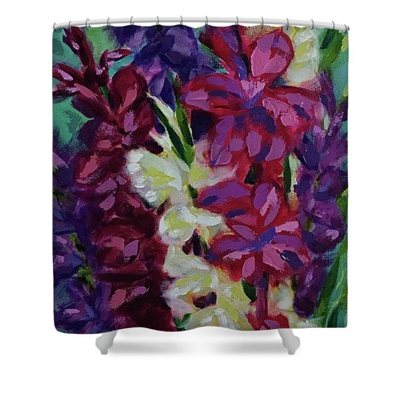 Gladiolas Shower Curtain featuring the painting Glad To See You by Nancy Breiman