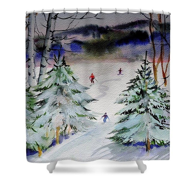 Winter Lanscape Of Skiers In The Glades. Trees Are Laden With New Snow. Shower Curtain featuring the painting Glades At Killington Vermont by Maurie Harrington