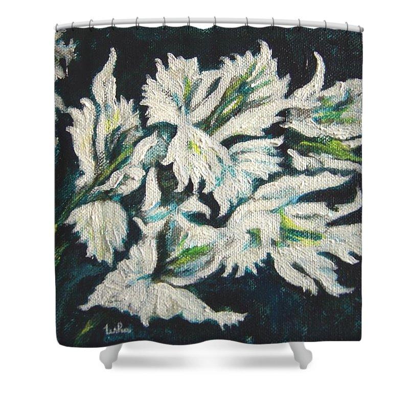 Gladioli Shower Curtain featuring the painting Gladioli by Usha Shantharam