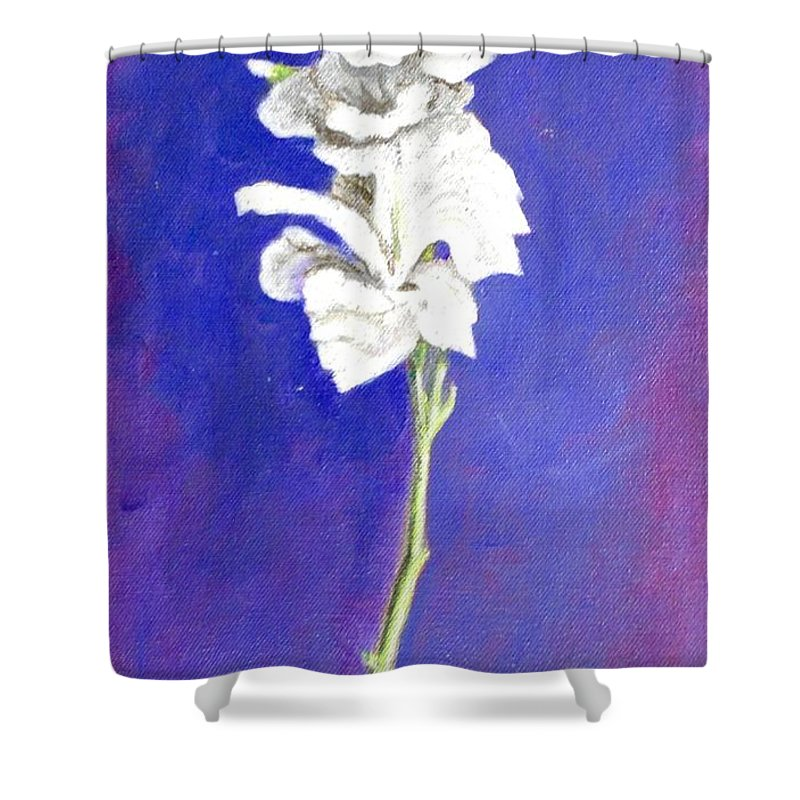 Flower Shower Curtain featuring the painting Gladiolus 1 by Usha Shantharam