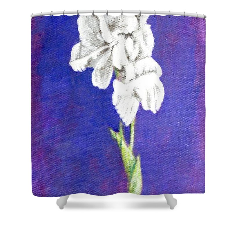 Shower Curtain featuring the painting Gladiolus 2 by Usha Shantharam