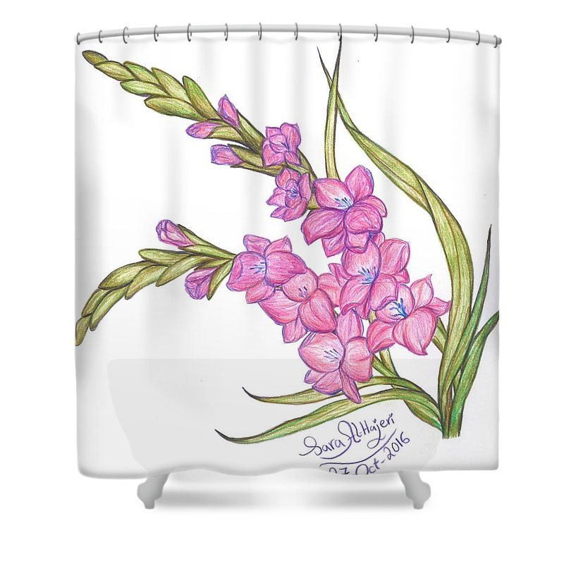 Shower Curtain featuring the drawing Gladiolus Pink by Sara Alhajeri
