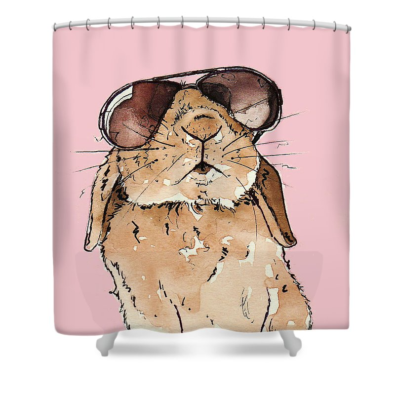 Rabbit Shower Curtain Featuring The Painting Glamorous By Katrina Davis