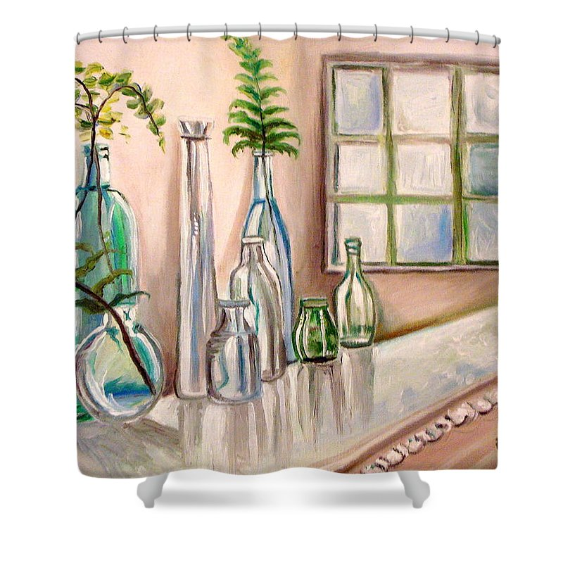Glass Shower Curtain featuring the painting Glass And Ferns by Elizabeth Robinette Tyndall