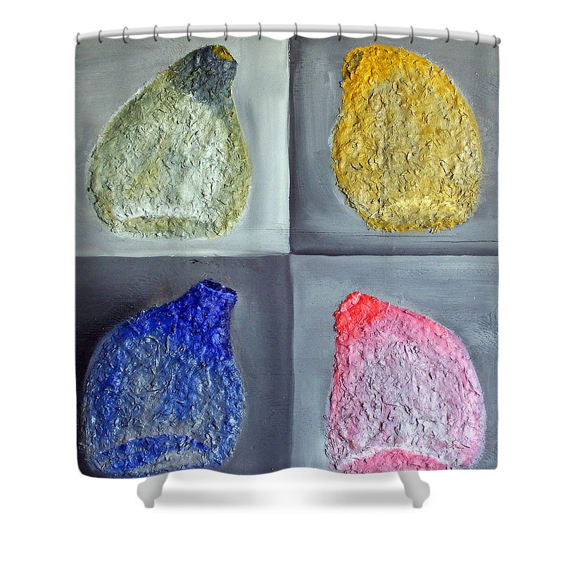Still Life Paintings Shower Curtain featuring the painting Glass Full Of Shapes by Leslye Miller