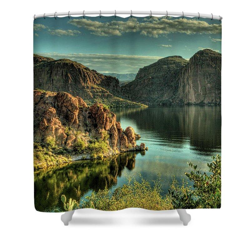 Arizona Shower Curtain featuring the photograph Glass Lake by Saija Lehtonen