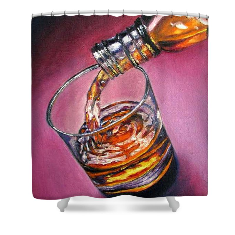 Glass Of Wine Shower Curtain featuring the painting Glass Of Wine Original Oil Painting by Natalja Picugina