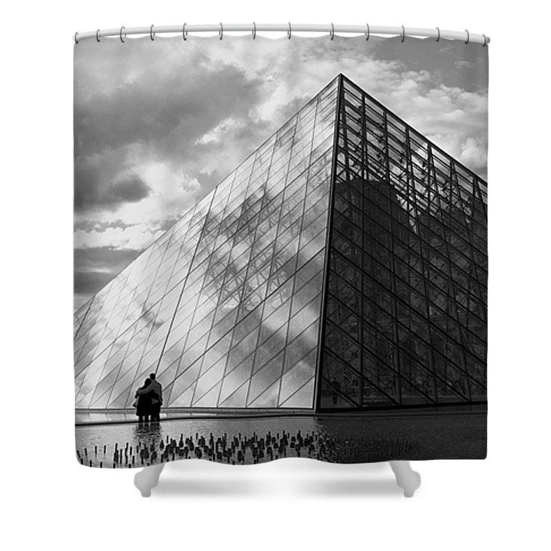 Paris Shower Curtain featuring the photograph Glass Pyramid. Louvre. Paris. by Bernard Jaubert