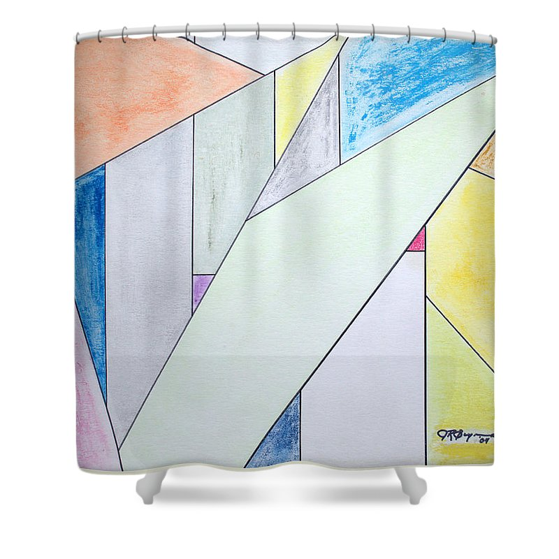 Buildings Shower Curtain featuring the mixed media Glass-scrapers by J R Seymour
