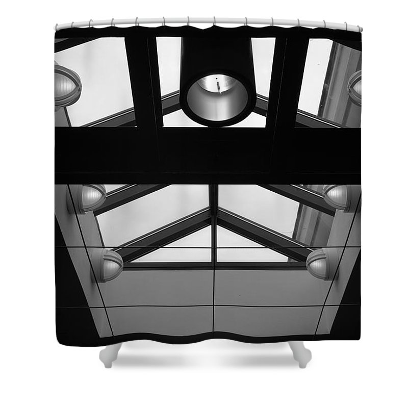 Black And White Shower Curtain featuring the photograph Glass Sky Lights by Rob Hans