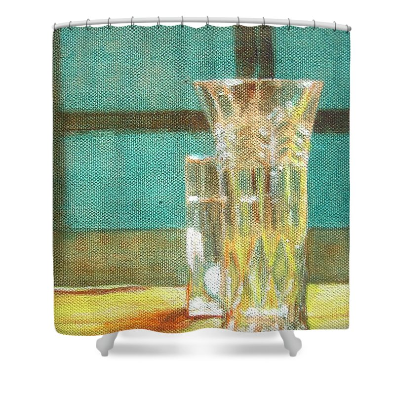 Glass Shower Curtain featuring the painting Glass Vase - Still Life by Usha Shantharam