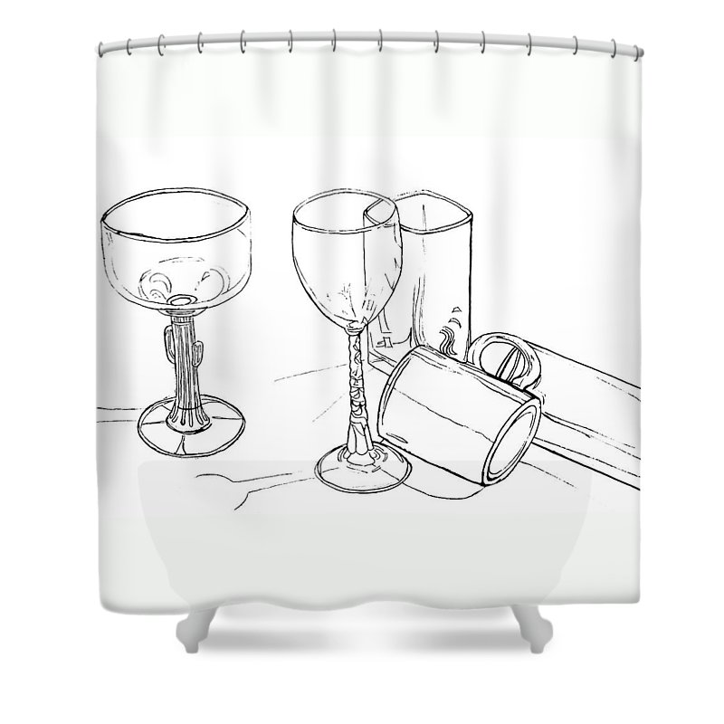 Contour Line Drawing Shower Curtain featuring the drawing Glasses by Jean Haynes