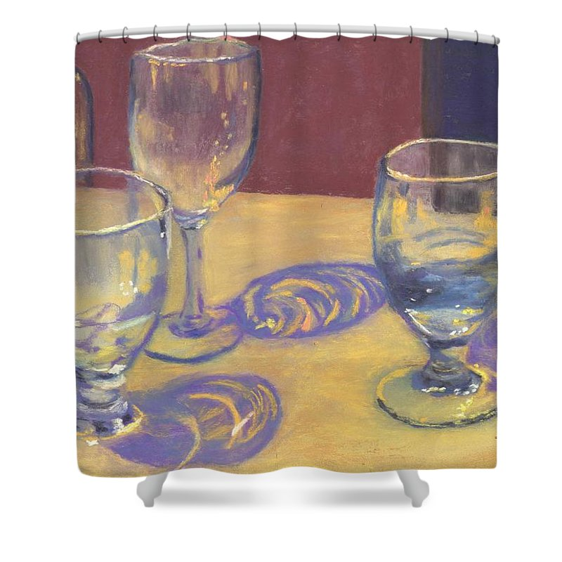 Glasses Shower Curtain featuring the painting Glasslights by Sharon E Allen