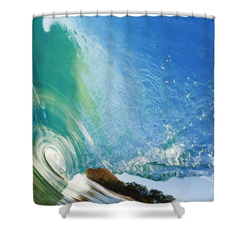 Amazing Shower Curtain featuring the photograph Glassy Wave Tube by MakenaStockMedia - Printscapes