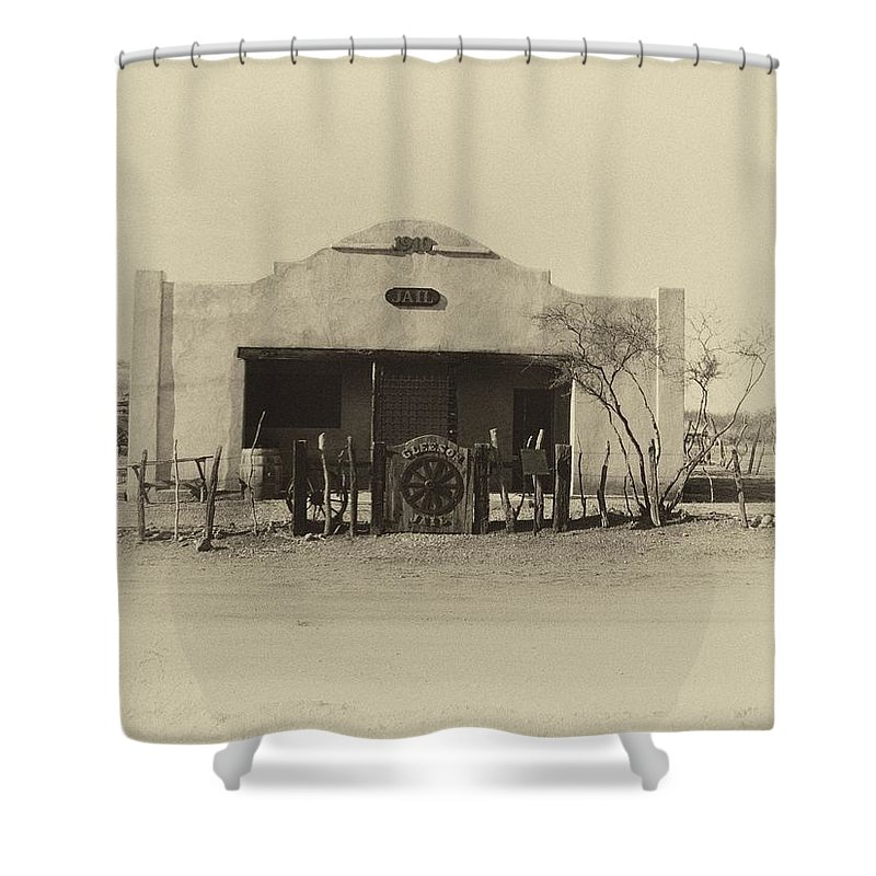 Old Jail Shower Curtain featuring the photograph Gleeson Jail by Joanne Rummel