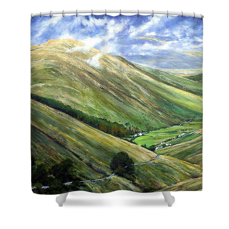 Landscapes Shower Curtain featuring the painting Glen Gesh Ireland by Jim Gola