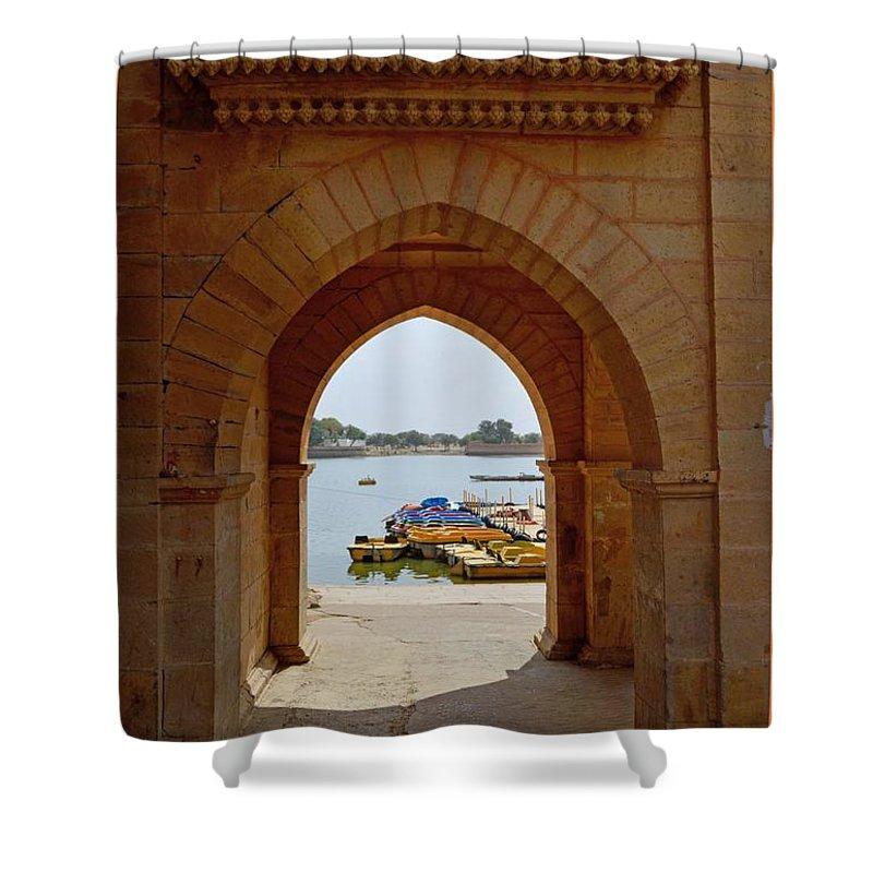 Gadisar Lake Shower Curtain featuring the photograph Glimpse Of Gadisar Lake by Sonali Gangane