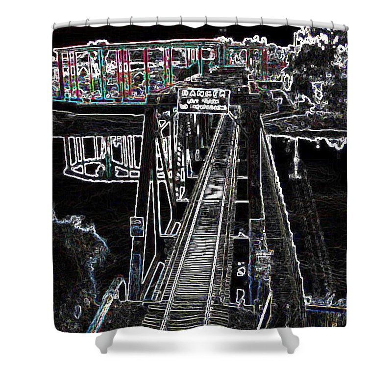 Black Shower Curtain featuring the photograph glo 247- Going To The Boardwalk by Chris Berry
