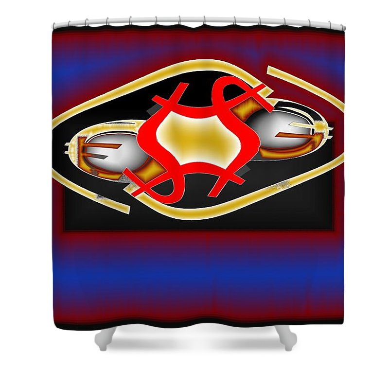 Dollar Shower Curtain featuring the digital art Global Dancing Round The Golden Calf by Helmut Rottler